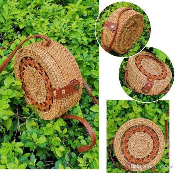 2019fasion sacos de praia cross body wooden bag bolsa de bambu mulheres stylist hand made tricô círculo saco saco de palha de viagem do vintage rodada OL