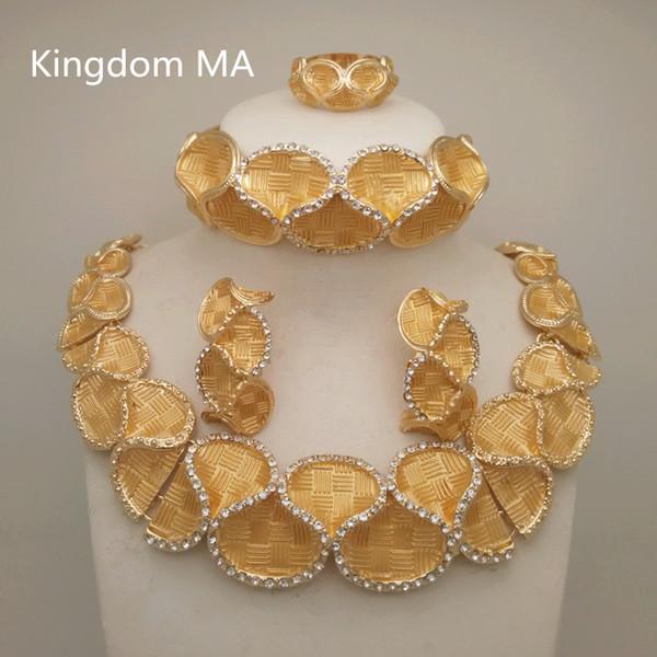 Königreich Ma Top Dubai Gold Farbe Schmuck Sets Nigerianischen Hochzeit Afrikanischen Kristall Halskette Armband Ohrring Big Jewelry Set