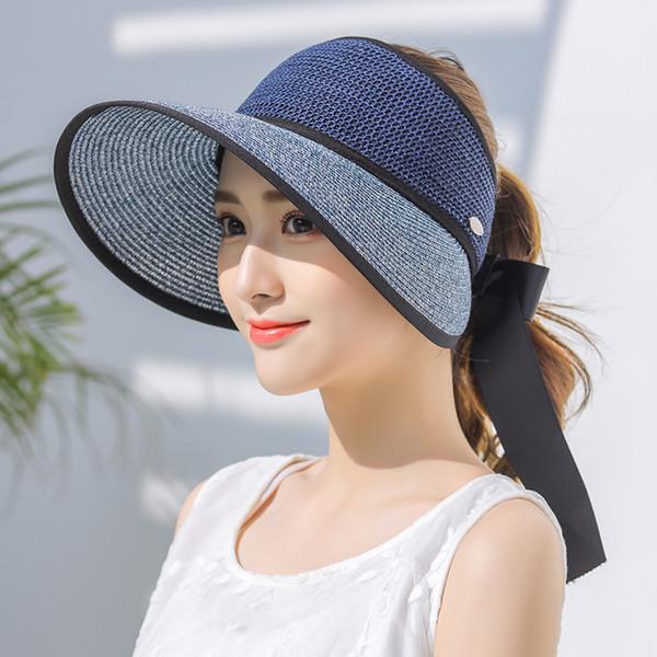 4b6cfc809e9a56 HT2333 Women Summer Hat Female Floppy Wide Brim Hat Lady Adjustable Sun  Visor Riding Beach Straw