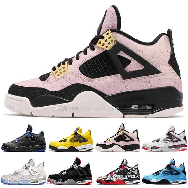 En stock 2019 New Bred 4 4s What The Cactus Jack Laser Wings Zapatillas de baloncesto para hombre Denim azul Eminem Pale Citron Hombres Sport Sport Sneakers