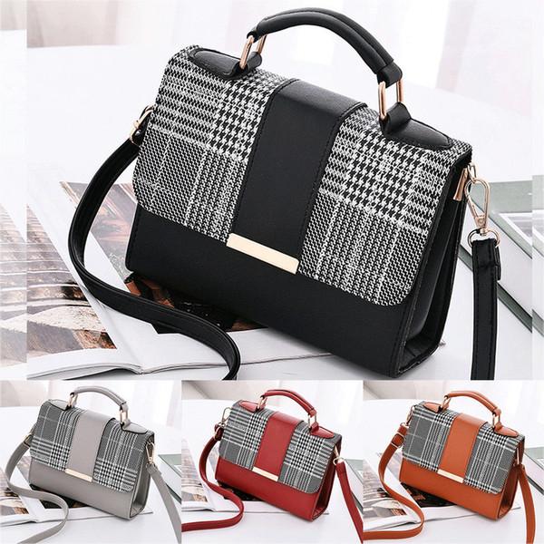 NUOVE signore delle donne a scacchi Tote Bag Leather Style Shoulder Handbag Qualità