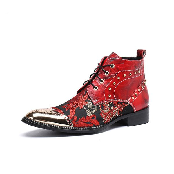 Fashion Luxury Genuine Leather Men Boots Embroidery Men Ankle Cowboy Boots Rivets Male Party and Wedding Boots, US6-12