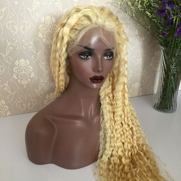 Unprocessed remy virgin human hair #613 colorful deep wave long full front lace silk top wig for women
