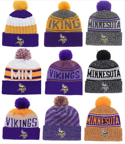 Wholesale New Pom Poms Men Women Winter Hats Sports Vikings Beanies Fashion Knitting Hat Embroidered Logo Brand Thick Female Warm Caps
