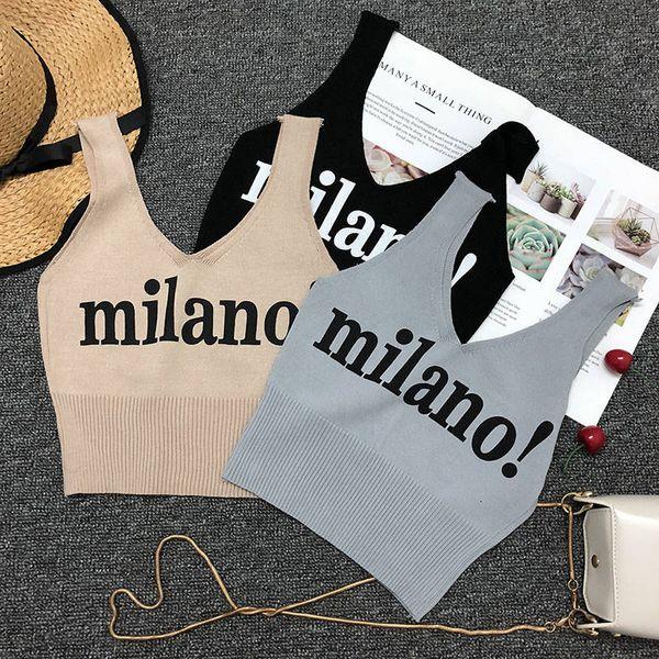 best selling 20190627 Printed lettered knitted suspender vest