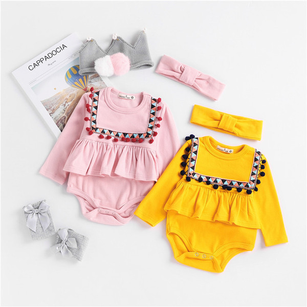Baby Rompers 2019 Christmas Baby Girl Romper Flower Tassel Pom Pom Hairband Jumpsuit Newborn Toddler Baby Boy Boutique Outfits