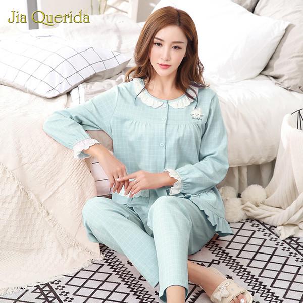 Set da pigiama da donna per loungewear Set di maniche lunghe Atutumn per la casa a maniche lunghe 100% cotone Plaid Laciness Ruffle Cuff Set da notte per donna