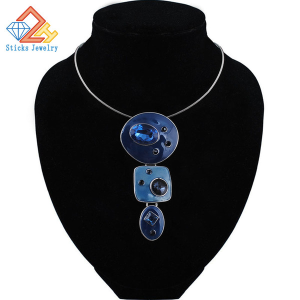 Fashon Colorful Enamel African Jewelry Sets For Women Gem Multilayers Pendant Necklaces