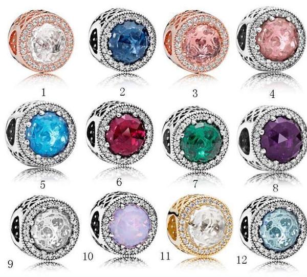 Argent 925 Sterling Silver Clear CZ Charms Perles Européennes avec boîte d'origine Fit Pandora Serpent Chaîne Bracelet Charms Bijoux DIY Making