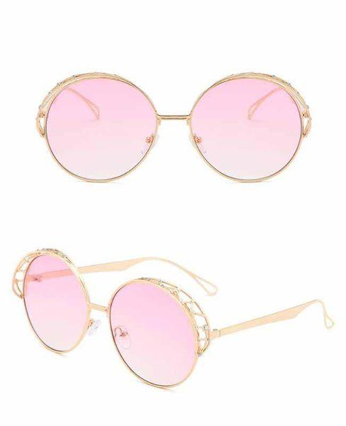 2019 Spring New Arrival Big Round Rhinestones Sunglasses Luxury Designer Sun Glasses Metal Hollow Frame Vintage Punk Style Glasses Frame
