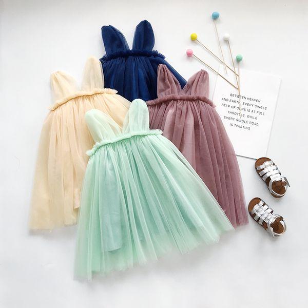 Summer girls dresses kids V-neck lace tulle tutu dress girl ruffle dew shoulder princess dress children birthday party dress F8190