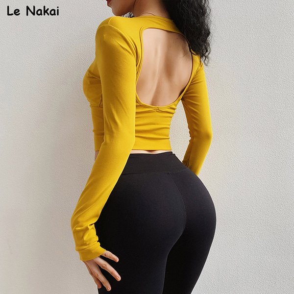 Sexy Open Back Long Sleeve Workout Tops for Women Knitted Rib Crop Top Gym Shirts Yellow Yoga Top Fitness Sports Shirts Ladies