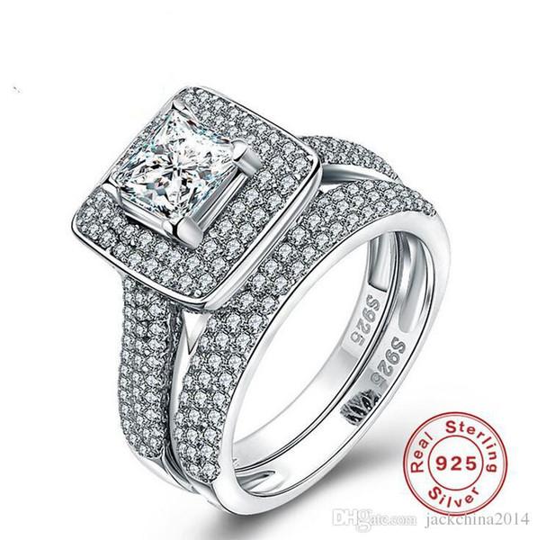 Größe 5-10 Luxus Schmuck Pure 100% 925 Sterling Silber Princess Cut White Sapphire Edelsteine CZ Diamant Frauen Hochzeitspaar Ring Set Geschenk