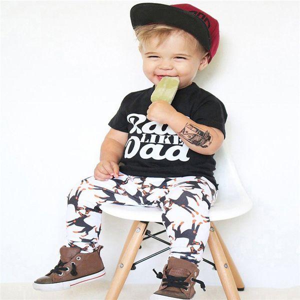 2Pcs Summer Boys Sets Toddler Baby Kids Boy Short Sleeve Letter Print Tops T-Shirt+Dog Print Pants Set Clothes M8Y06