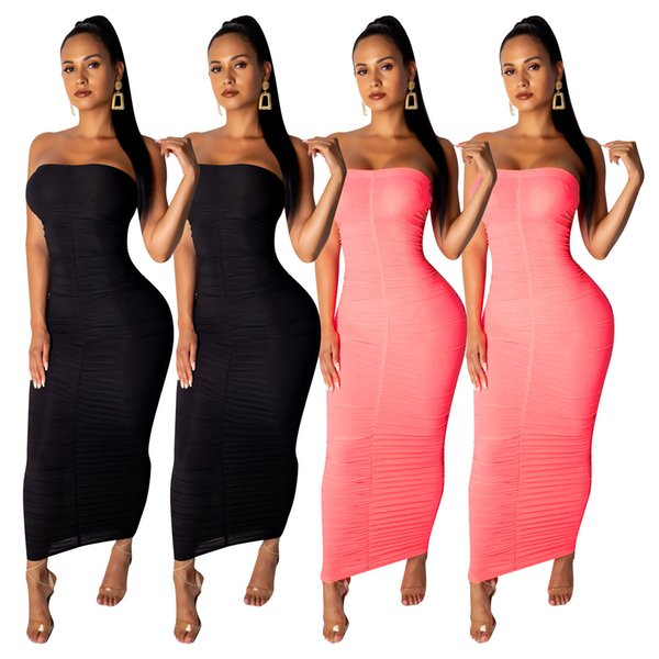 Sexy Summer Dresses Strapless Bodycon Irregular Ruched Long Dress Summer Fashion Casual Club Party Women Clothing
