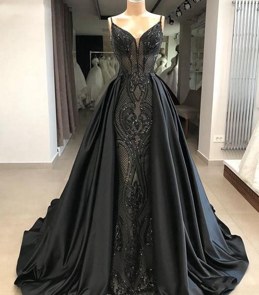 2019 Nueva llegada sirena Vestido de noche largo Cuello en v Precioso encaje Tren largo Negro Vestido de noche árabe formal vestido de noche Vestidos de baile