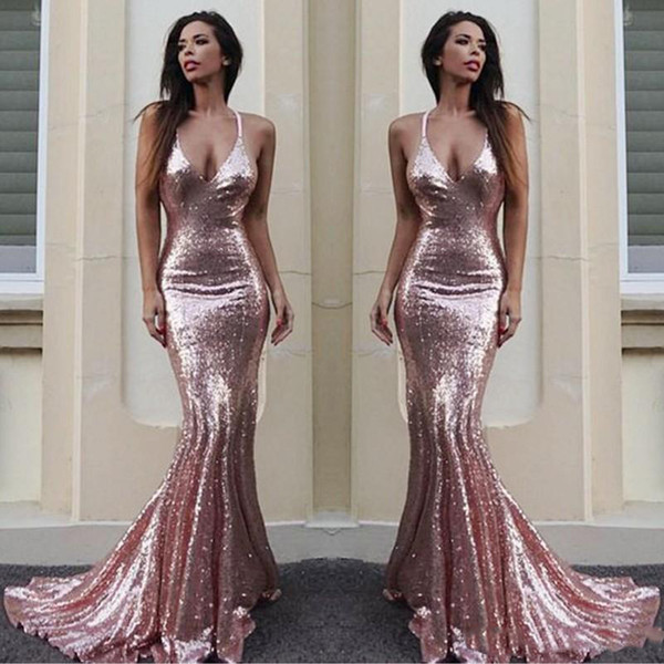 Rose Gold Mermaid Bridesmaid Dresses For Wedding Simple Sequined Sexy Halter Maid Of Honor Gowns Custom Made Cheap Long Bridesmaid Dress
