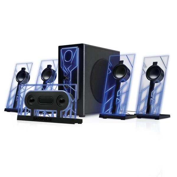 BassPULSE 5.1 Computer Speakers Surround Sound w/ Subwoofer, 80 Watts Blue LED