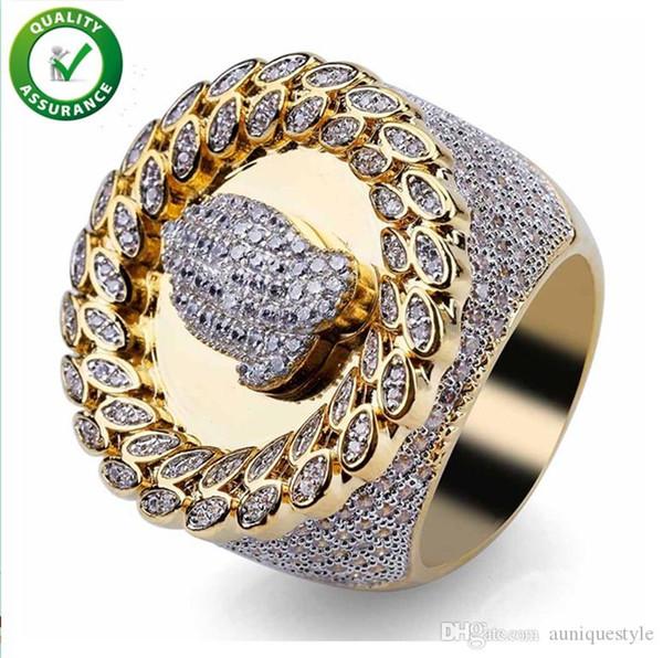 Hip Hop Mens Anéis de Noivado de Casamento Anel de Amor de Luxo Designer de Anéis de Ouro Diamante Encantos de Estilo de Pandora Campeonato Micro Pavimentada CZ