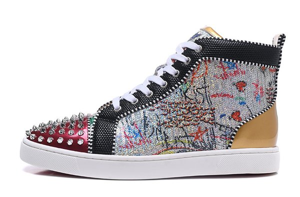 Newest Graffiti Unisex Sneaker Gold Silver Rivets Spikes Crystal High Top Lace-up Men Shoes Glitter Blingbling Women Casual Shoes