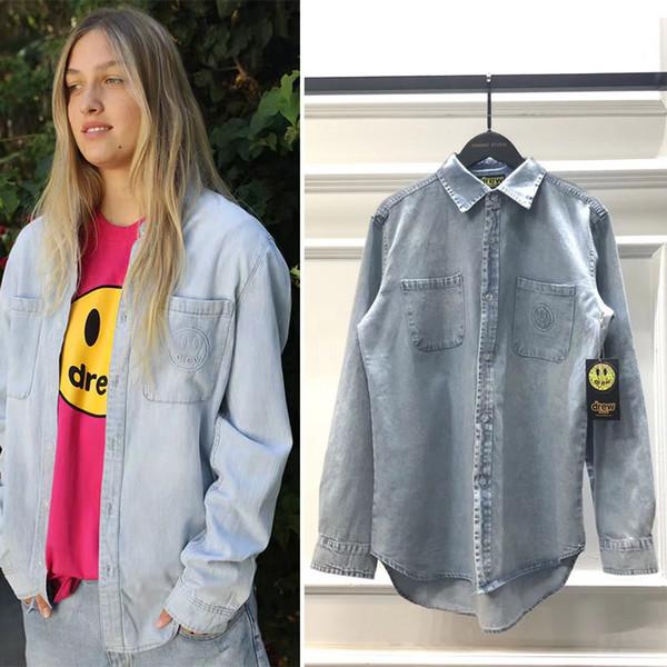 Jean shirt dos homens 19FW DREW CASA Streetwear manga comprida Camisas Hombre Homens e mulheres camisas lapela solto Hip Hop Denim Shirt