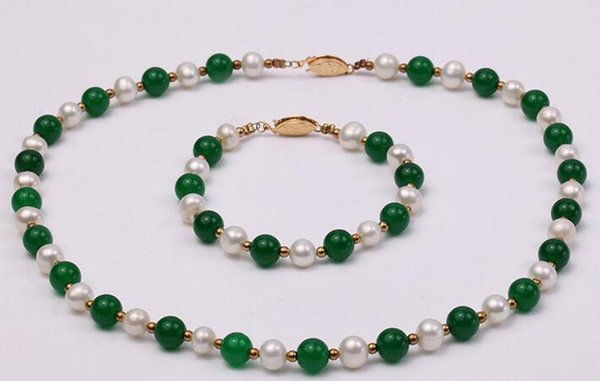 Wholesale price Jewelry 7-8mm White Freshwater Pearl & Green stone Pearl Necklace Bracelet Set