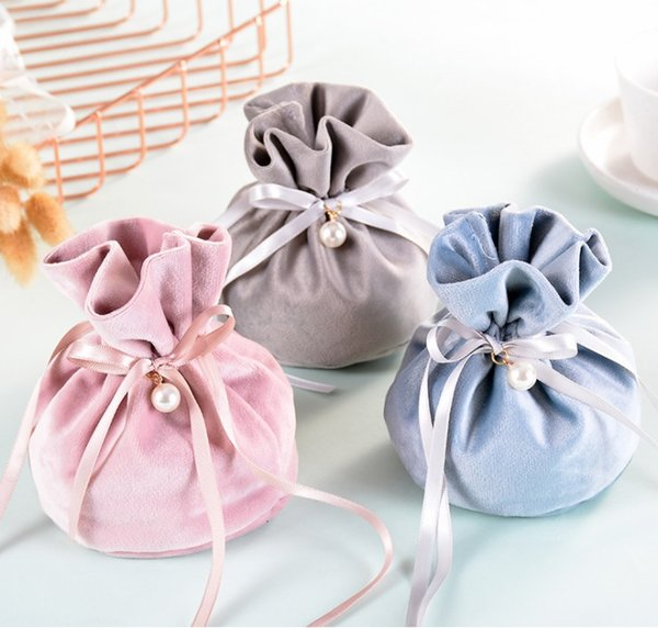 Christmas Apple Storage Bag Velvet Wedding Candy Bags 9x12cm Drawstring Jewelry Gift Pouch with Ribbons WB484