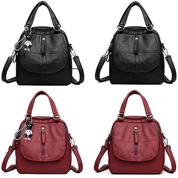 1 PC Women Multi-function Backpack Waterproof Soft PU Leather Anti-theft Rucksack Lightweight HandBag Travel School Backpack New