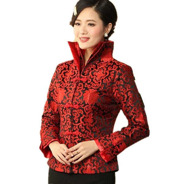 Cappotto in giacca di raso di seta da donna nero-rosso in stile cinese tradizionale Fiori Taglia S M L XL XXL XXXL Spedizione gratuita