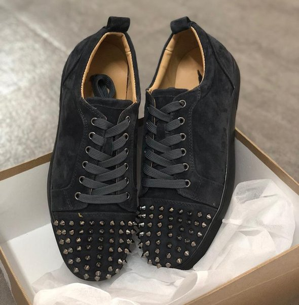 Designer shoes Red bottom Junior Spikes Veau Velours Squale Sneakers Jungle Green men trainers real leather Party shoes US 5-12.5
