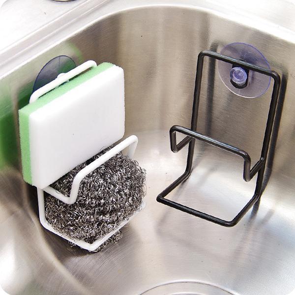 Simple suction cup double iron draining rack multi-purpose debris storage racks sink sponge brush holder kitchen
