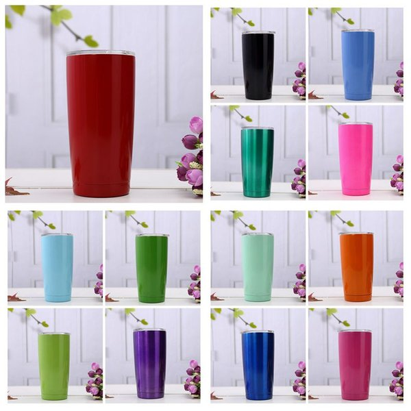 20oz Colorful Coffee Cups Stainless Steel Car Mugs Large Capacity Double Layer Sports Mugs Travel Mugs With lid Car Cups CCA11609 20pcs