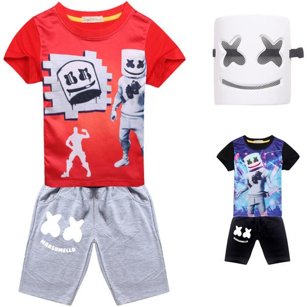 dj marshmello mask full face cosplay costume halloween kids fashion t-shirt streetwear casual boys summer short sleeve tshirt