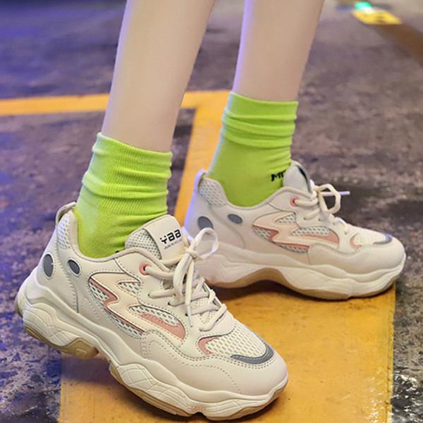 Yeni İlkbahar sonbahar kadın koşuyoruz ayakkabı Moda örgü Nefes kalın alt kadın sneakers Vahşi Koşu Yürüyüş ayakkabıları K2-57