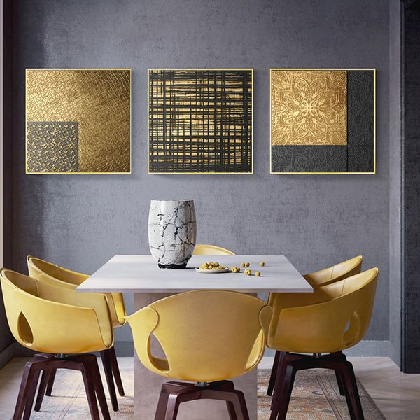 Abstract Gold Geometry Nordic Canvas Painting Picture Modern Home Decor Wall Art Poster Retro Print Luxury Pictures for Home Decor No frame