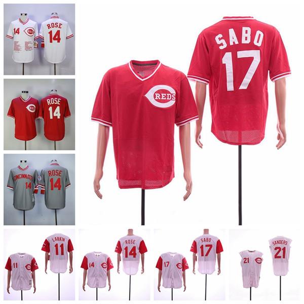 Cincinnati Barry Larkin Jersey Reds Pete Rose Chris Sabo Deion Sanders Ken Griffey Jr Camisolas de Basebol
