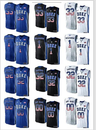 Duke Blue Devils College 2018 Basketball Jersey 1 Zion Williamson 2 Cam Reddish 5 RJ Barrett A customized version of the American flag Jerse