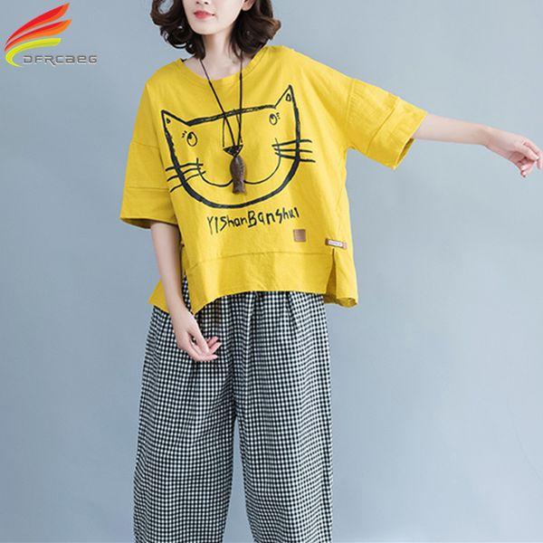 Oansatz Plus Größe T-shirt Frauen 2018 Sommer Beiläufige Lose Übergröße T-shirt Kawaii Cartoon Katzendruck Frauen Tops Baumwolle T-shirts J190424
