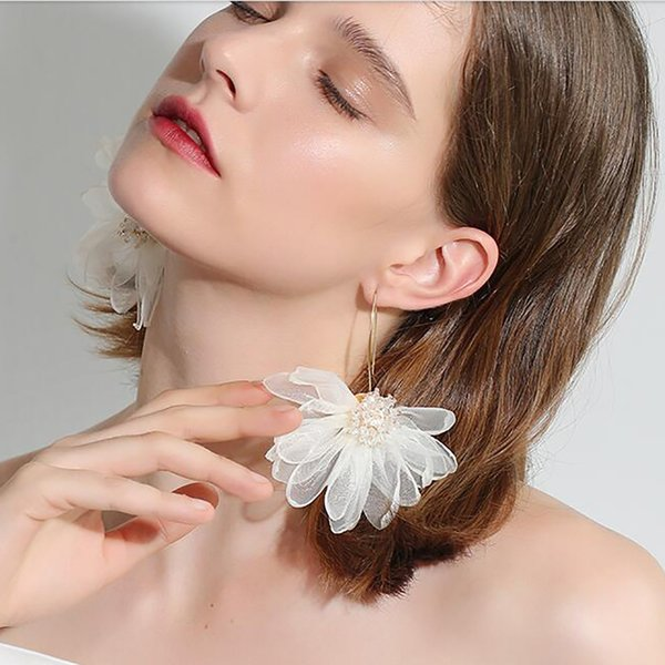 NKorean Fashion Fascino Fiore Orecchini Fata Tessuto Grande petalo Fiori Orecchini Partito Dichiarazione Brincos Bijoux Regali per le donne Regali