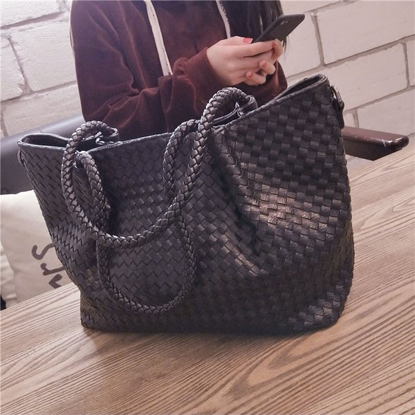 Ladies' pu Woven bag 2019 new spring Tote Bag fashion High-capacity handbag women Inclined single shoulder c422