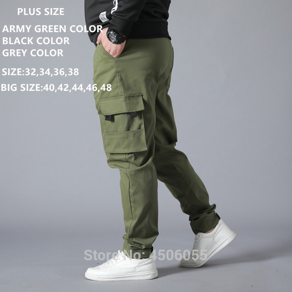 Men Trousers Army Green Cargo Pants Black With pockets Man Tactical Mens Casual Camo Pant Plus Big Size 42 44 46 48