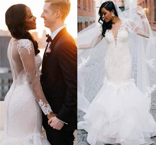 Sexy Sheer Lace Mermaid Wedding Dresses 2019 with Long Sleeve Sheer Neck Illusion Bodice Appliques Garden Country Plus Size Bridal Gowns