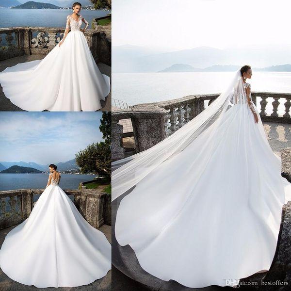 Plus Size A-Line Wedding Dresses 2019 Long Sleeve Summer Beach Bridal Gowns Vintage Lace vestido De Novia Illusion Back with Buttons BA4502