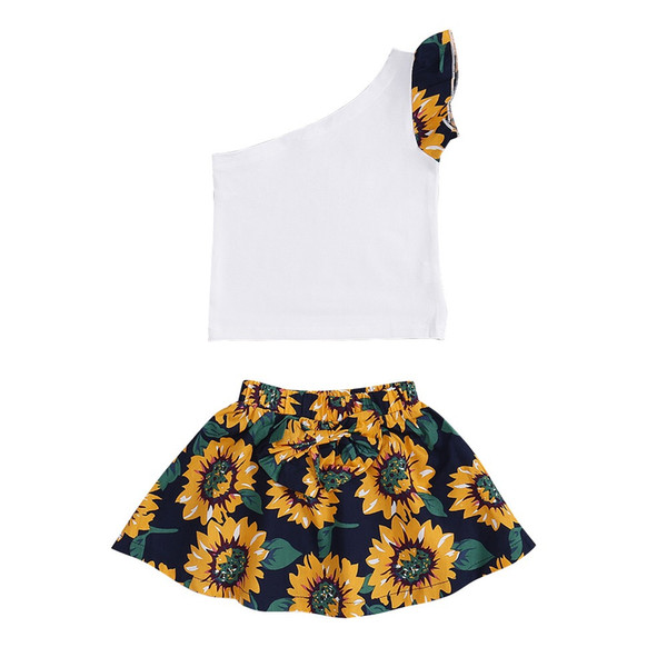 INS Stylish Little Girls Off Shoulder Floral Sleeve Dresses Suits 2pieces White Sleeveless Tops Flower Printing Skirt Kids Dresses Outfits