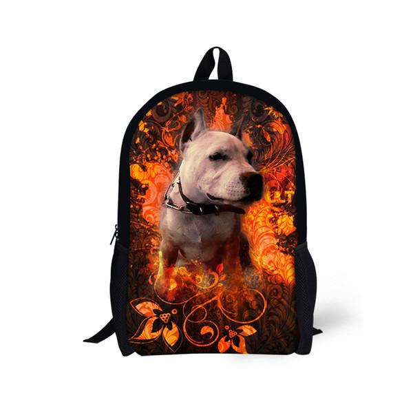 Laptop Mochila Mulheres Faculdade Pitbull Pet Dog Fire Backpack para Adolescentes Meninas Meninos Crianças Sacos De Escola Dos Desenhos Animados DAB