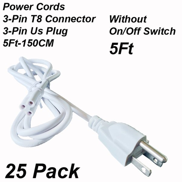 5Ft 3Pin US Plug without Switch