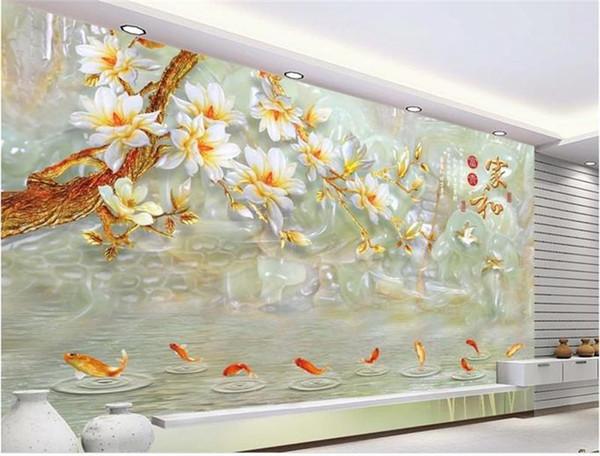 Sob encomenda da foto 3d papel de parede mural sala de estar sofá tv pano de fundo mural jade nove peixe magnolia flor imagem papel de parede mural adesivo home decor