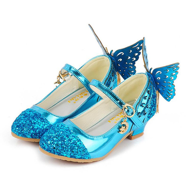 Sommer Kinder Mädchen Schuhe Glitter Prinzessin High Heels Sandalen Pink Dance Hochzeiten Kinder Mode Schmetterling Kristall Leder Party