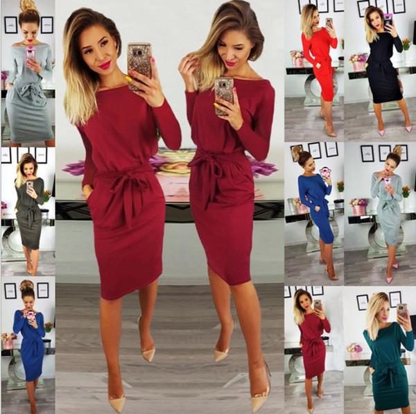 New Womens Summer Ladies Sexy O-Neck Short Sleeve Wrap Belt Dress Slim Bodycon Midi Dresses Elegant Office Dress