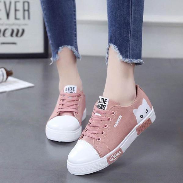 2253f5d9af Casual Mujer Zapatos Mujer Pisos Zapatos de lona Moda Mujer Zapatillas de  deporte de encaje hasta